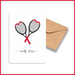 Carte A6 Love Collection_Raquettes Coeurs_Avec enveloppe kraft