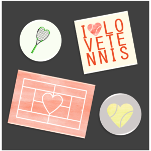HAPPY TENNIS_Aimants I Love Tennis_Lot de 4 aimants